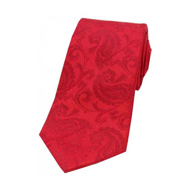 Red Paisley Woven Silk Tie