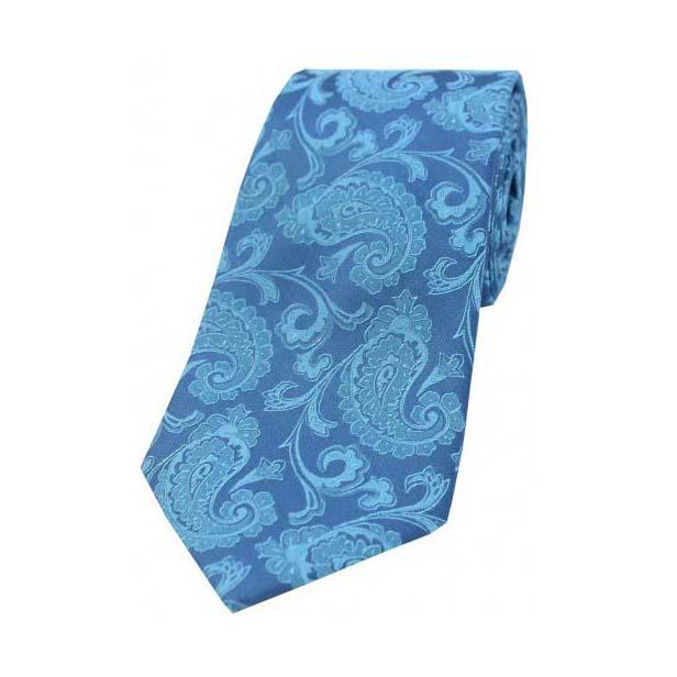 Cyan Paisley Print Woven Silk Tie