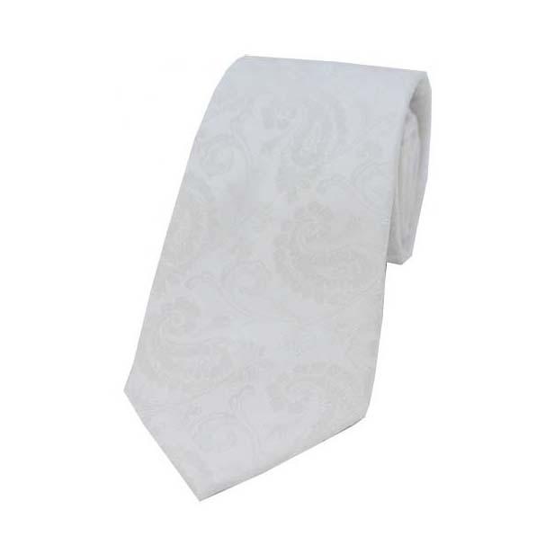 White Paisley Woven Silk Tie