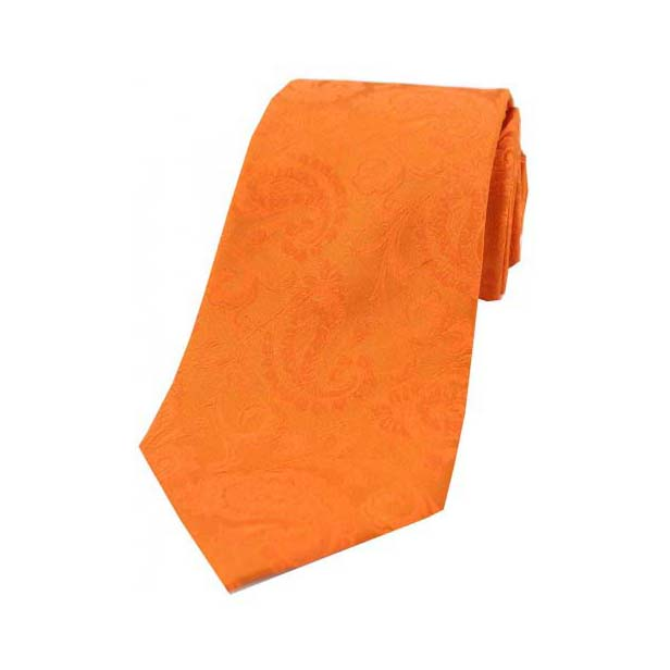 Orange Paisley Woven Silk Tie