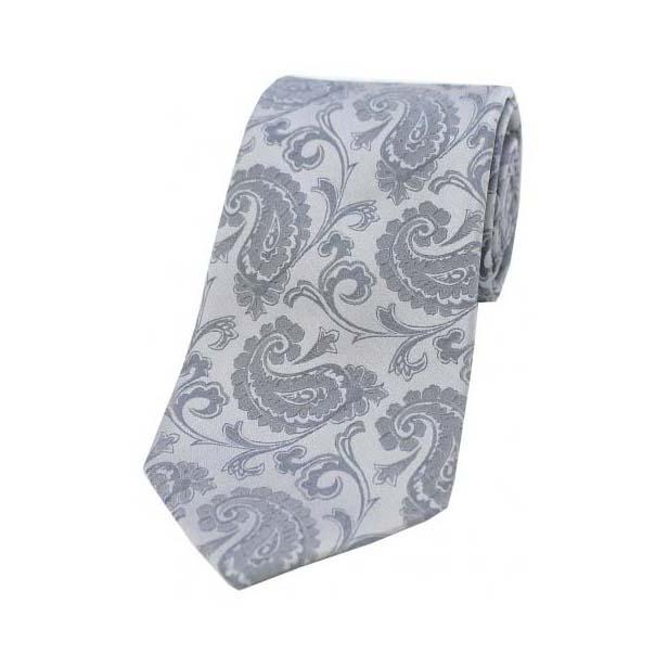 Silver Paisley Woven Silk Tie