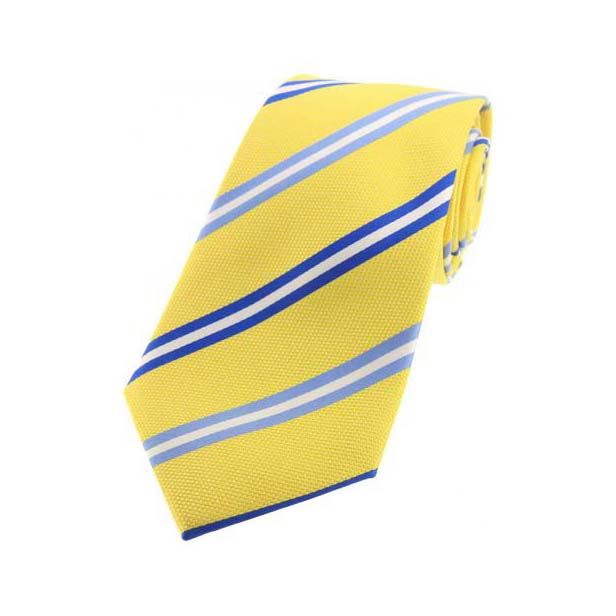 Yellow, Sky Blue and Royal Blue Striped Silk Tie