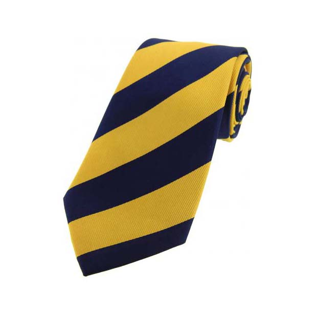 Navy and Gold College Style Striped Silk Tie