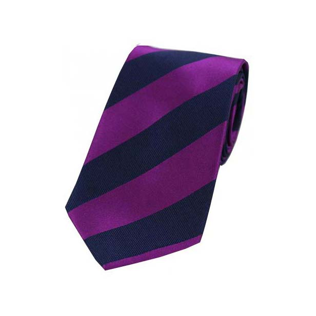 Purple and Navy College Style Striped Silk Tie