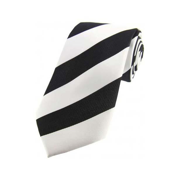 Black and White College Style Striped Silk Tie