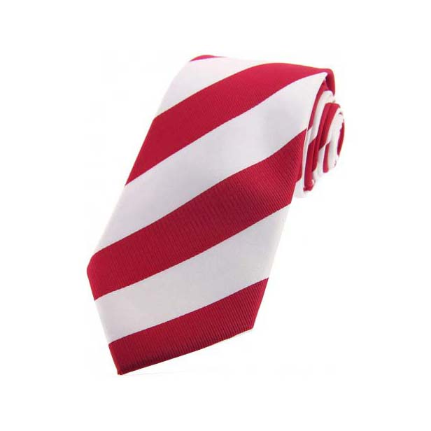 Red and White College Style Striped Silk Tie
