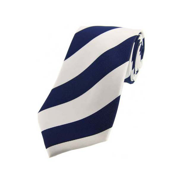 Navy and White College Style Striped Silk Tie
