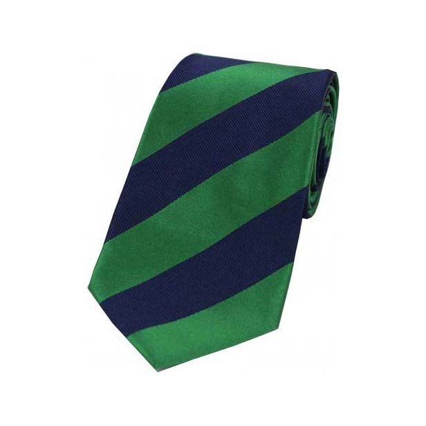 Emerald Green and Navy College Style Striped Silk Tie