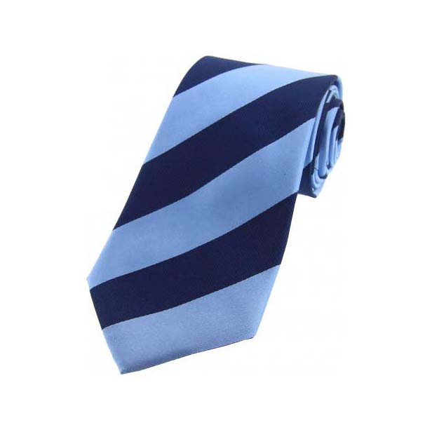 Denim Blue and Navy College Style Striped Silk Tie