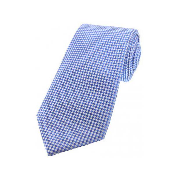 Sky Blue and Silver Neat Checked Silk Tie