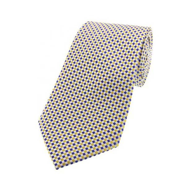 Sky Blue and Gold Neat Checked Silk Tie
