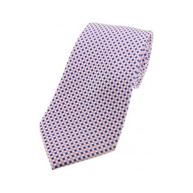 Sky Blue and Pink Neat Checked Silk Tie
