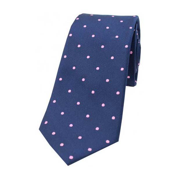 Navy & Pink Polka Dots Silk Tie