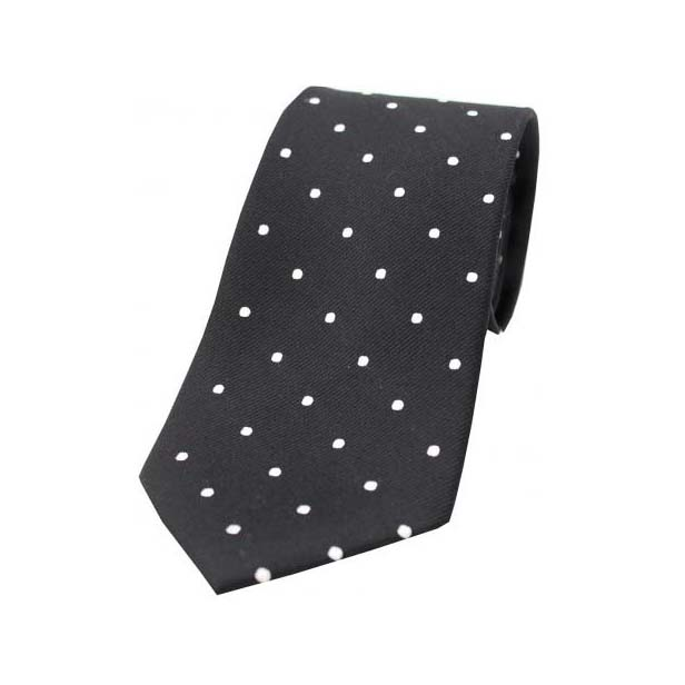 Black and White Polka Dot Silk Tie