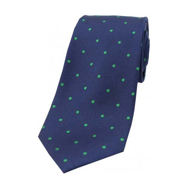 Navy and Emerald Green Polka Dot Silk Tie