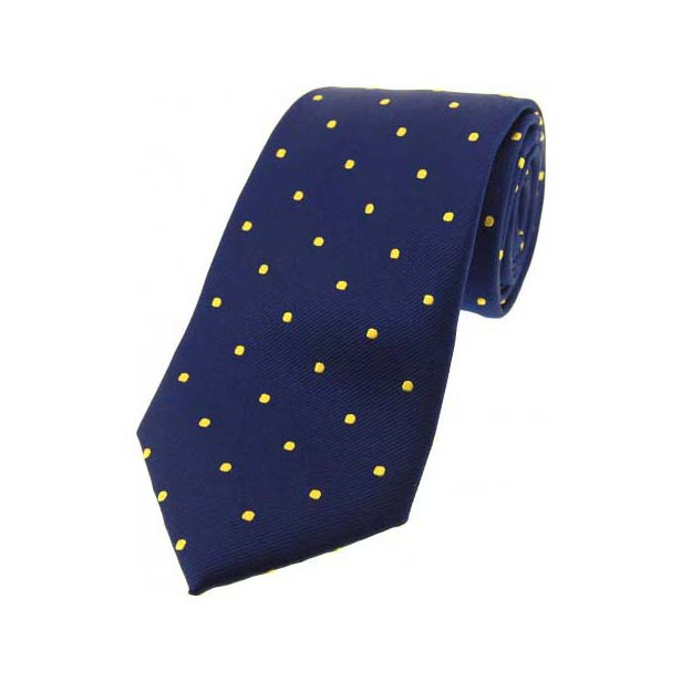 Navy and Gold Polka Dot Silk Tie