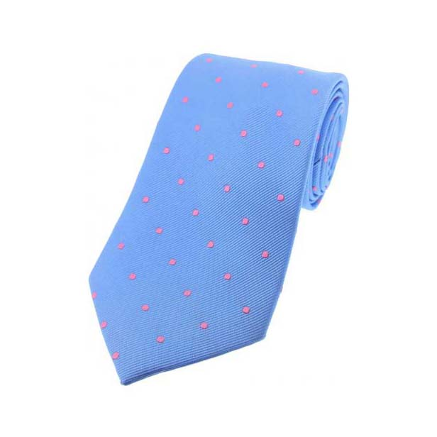 Sky Blue & Pink Polka Dots Silk Tie