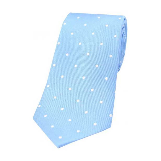Sky Blue and White Polka Dot Silk Tie