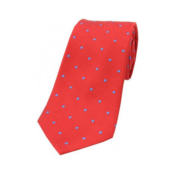 Red and Royal Blue Polka Dot Silk Tie