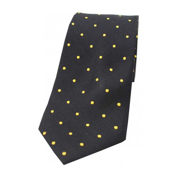 Black and Gold Polka Dot Silk Tie