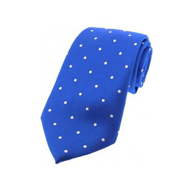 Royal Blue and White Polka Dot Silk Tie