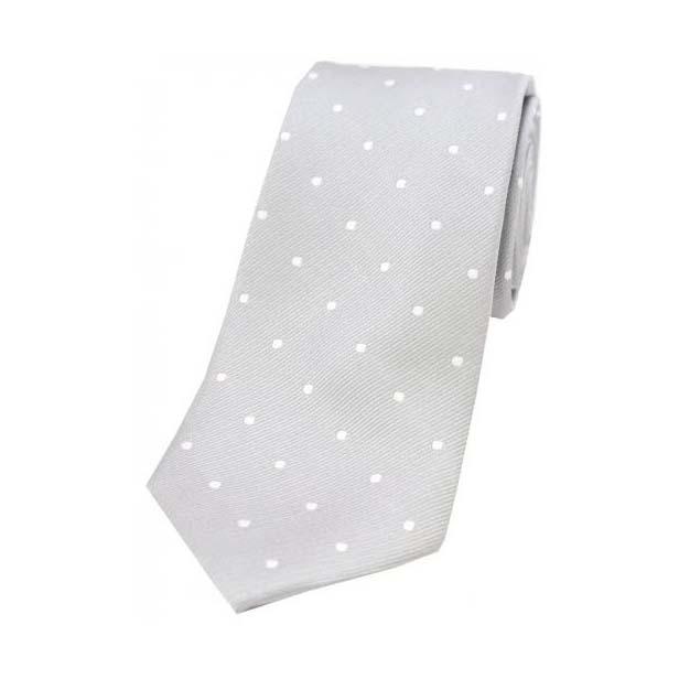 Silver and White Polka Dot Silk Tie
