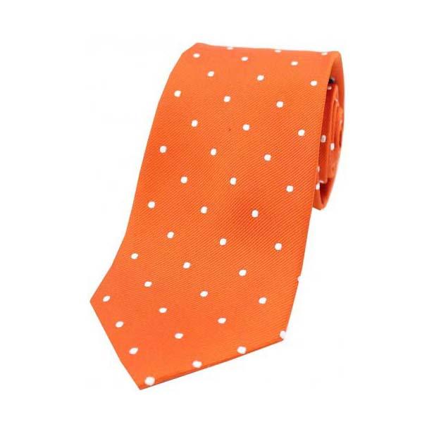 Burnt Orange and White Polka Dot Silk Tie