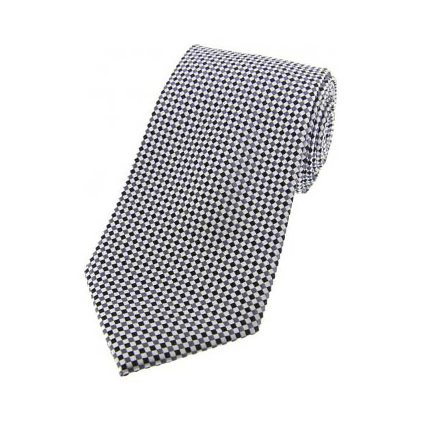 Silver and Grey Neat Checked Silk Tie