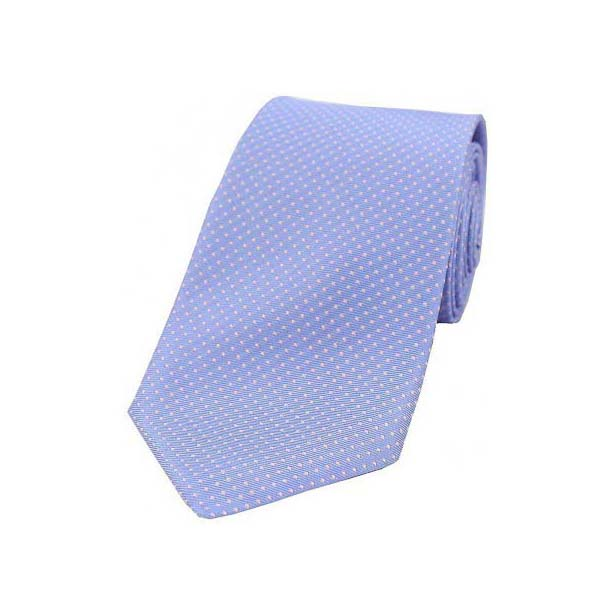 Sky Blue and Pink Pin Dot Silk Tie