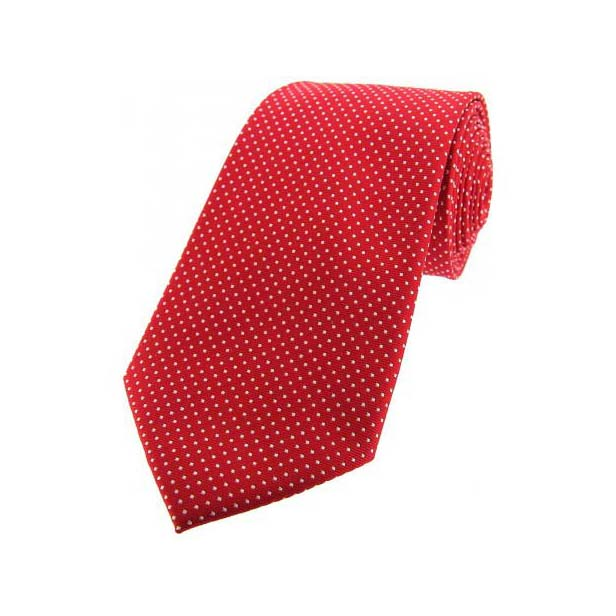 Red and White Mini Polka Dot Silk Tie