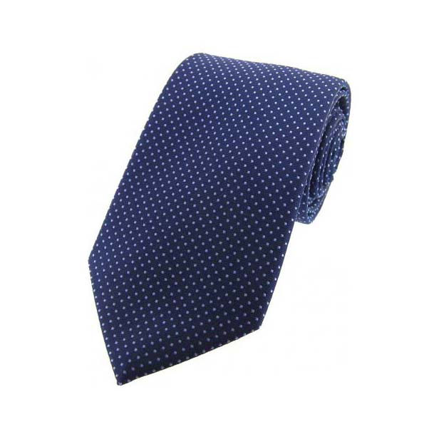 Navy Blue and Sky Blue Pin Dot Silk Tie