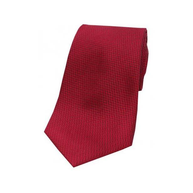 Wine Herringbone Woven Silk Tie