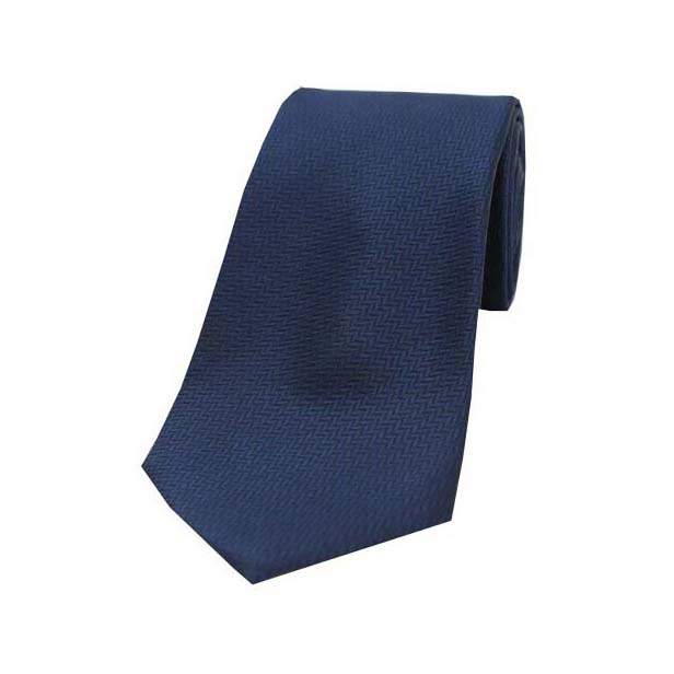 Navy Herringbone Woven Silk Tie