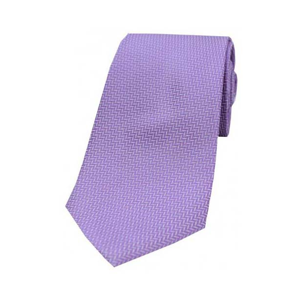 Lilac Herringbone Woven Silk Tie