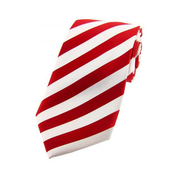 Red and White Satin Striped Silk Tie