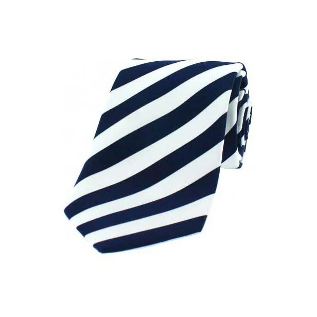 Navy and White Satin Striped Silk Tie