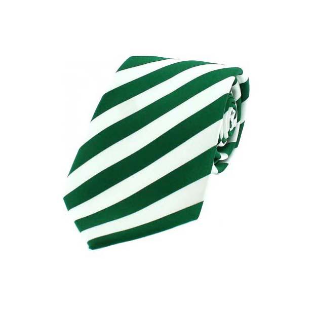 Emerald Green and White Striped Silk Tie
