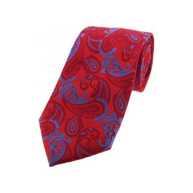 Red and Sky Blue Paisley Silk Tie