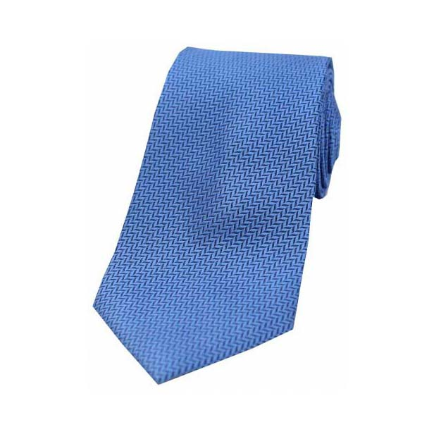 Royal Blue Herringbone Woven Silk Tie