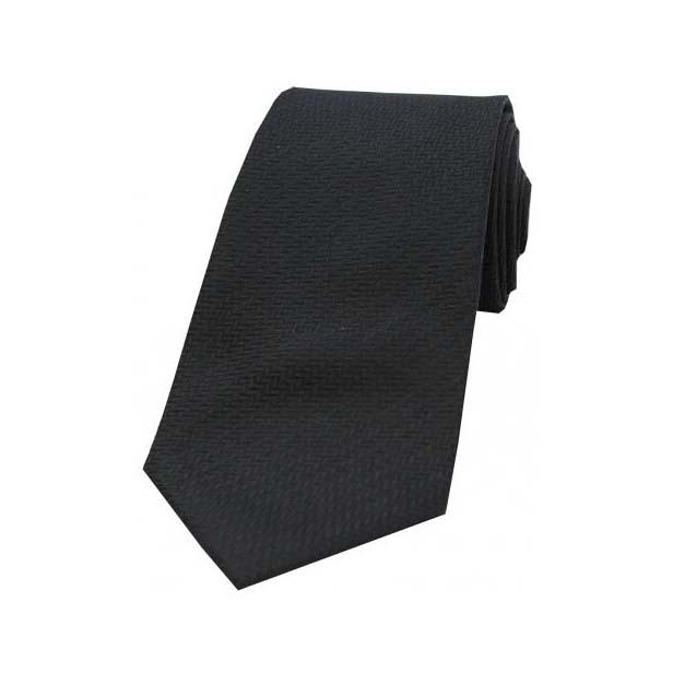 Black Herringbone Woven Silk Tie