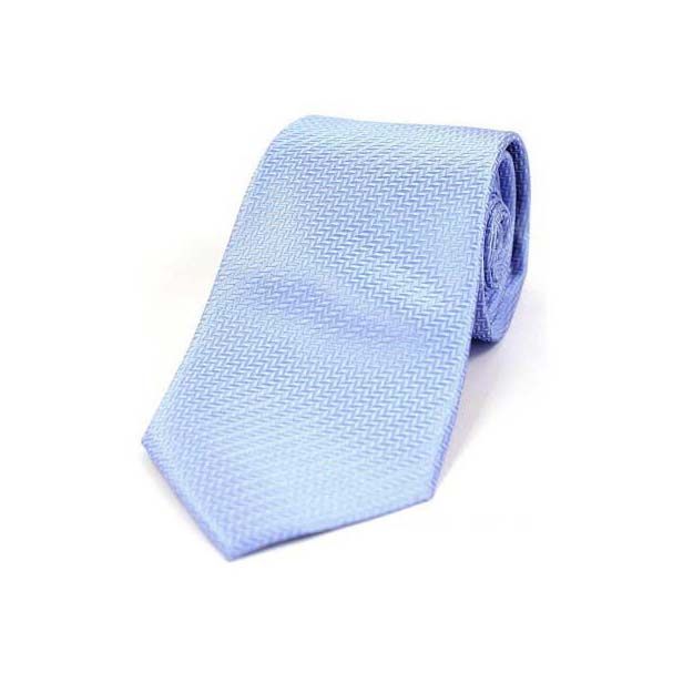 Sky Blue Herringbone Woven Silk Tie