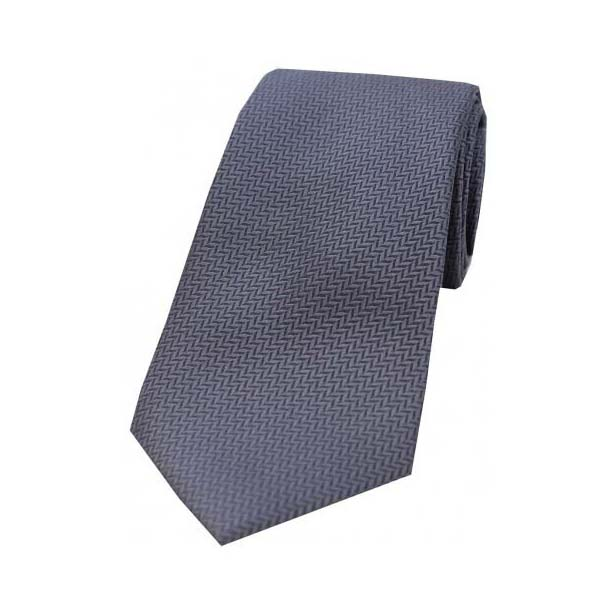 Grey Herringbone Woven Silk Tie