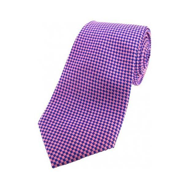 Pink and Navy Diamonds Silk Tie
