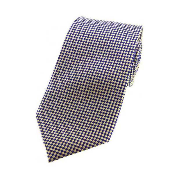 Navy and Cream Diamonds Silk Tie