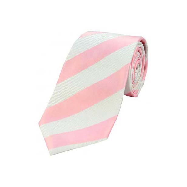 Light Pink and White College Style Striped Silk Tie