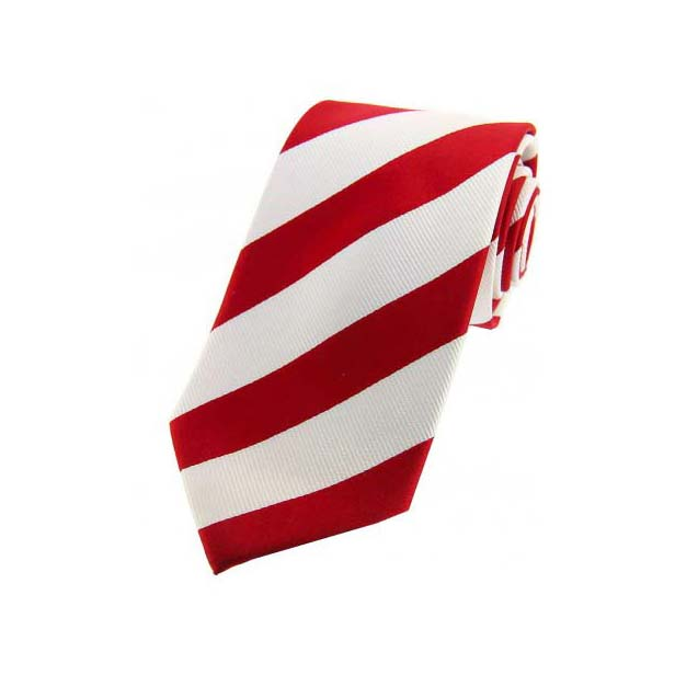 Red and White Diagonal Stripes Silk Tie