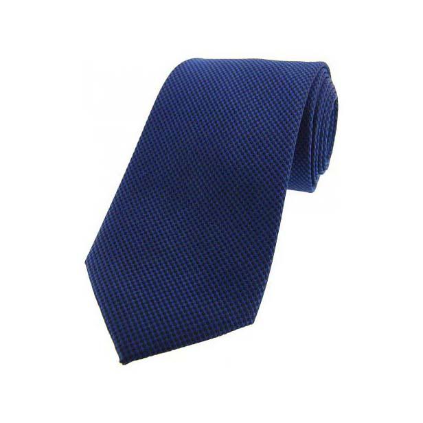 Navy Textured Woven Silk Tie