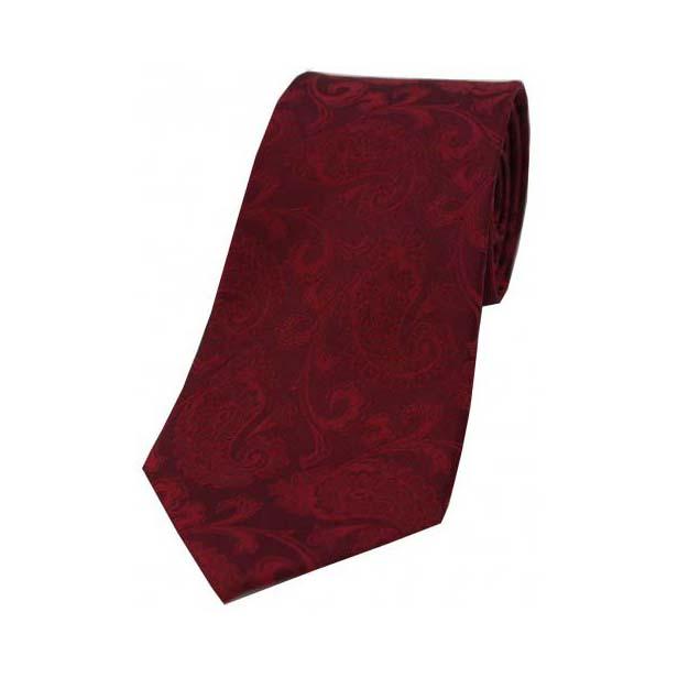 Wine Paisley Woven Luxury Silk Tie