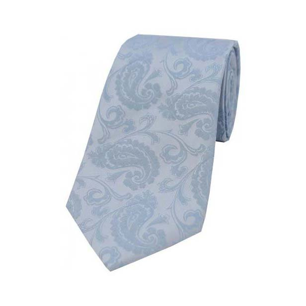 Light Duck Egg Blue Paisley Silk Tie