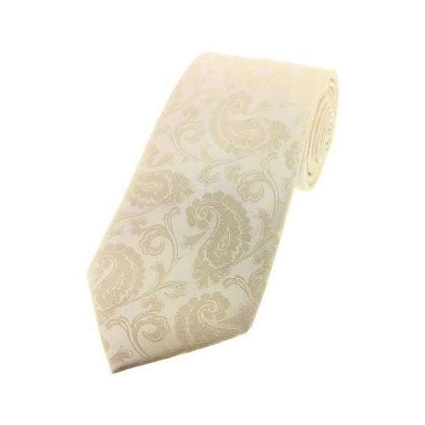 Ivory Paisley Luxury Silk Tie